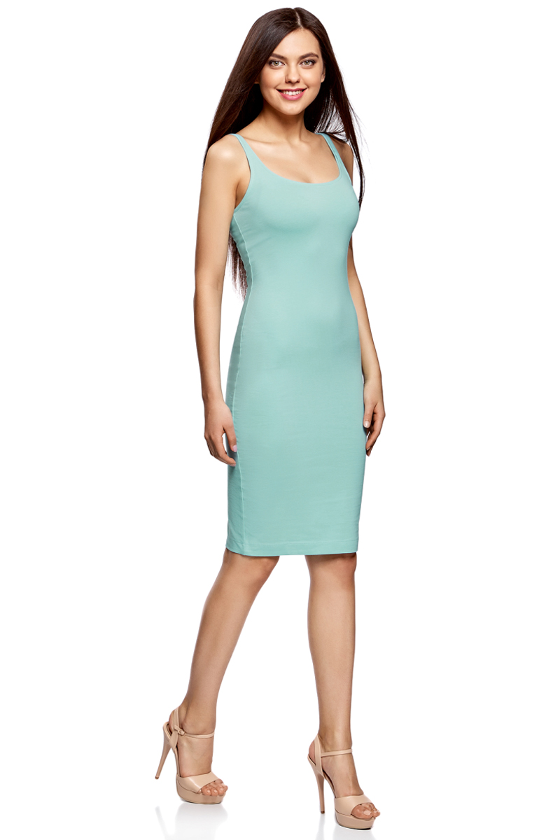 Платье oodji Ultra, цвет: бирюзовый. 14015007-2B/47420/7300N. Размер XXS (40)14015007-2B/47420/7300NЛегкое обтягивающее платье oodji Ultra, выгодно подчеркивающее достоинства фигуры, выполнено из качественного эластичного хлопка. Модель миди-длины с круглым вырезом горловины и узкими бретелями дополнена разрезом на юбке с задней стороны. Мягкая ткань приятна на ощупь и комфортна в носке.