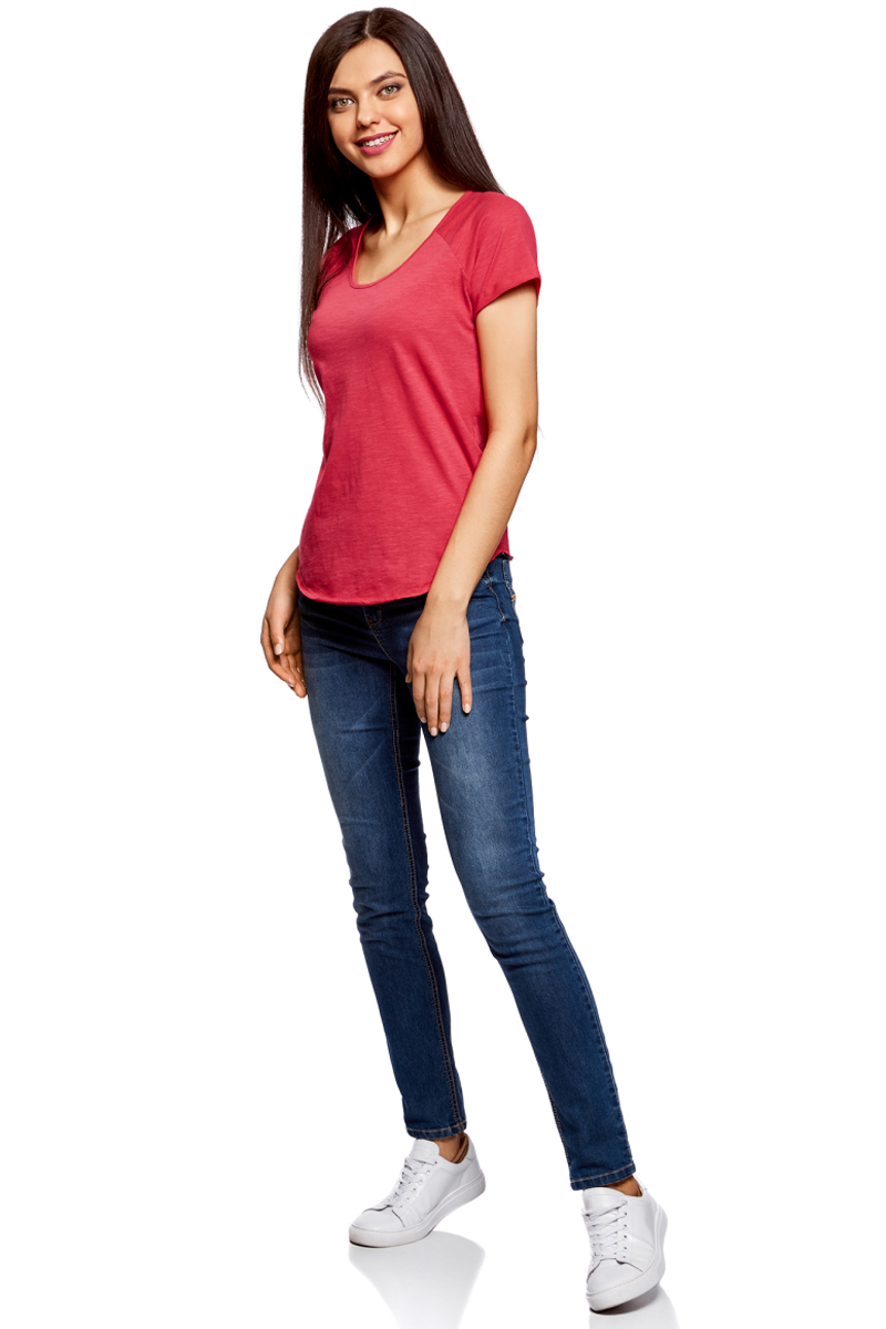 Футболка женская oodji Ultra, цвет: ярко-розовый. 14707004-3/45518/4D00N. Размер XL (50)14707004-3/45518/4D00NЖенская футболка от oodji выполнена из натурального хлопка. Модель с короткими рукавами и круглым вырезом горловины имеет необработанные края.