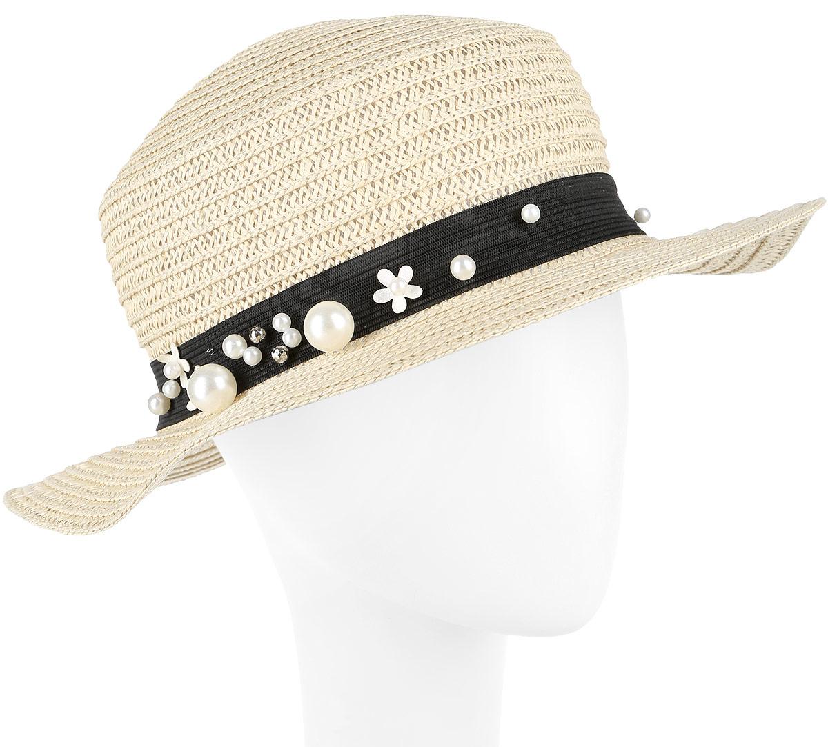 Шляпа женская Fabretti, цвет: бежевый. GL45-3. Размер универсальныйGL45-3 BEIGEСтильная шляпа от Fabretti для пляжного отдыха и прогулок в солнечные дни.