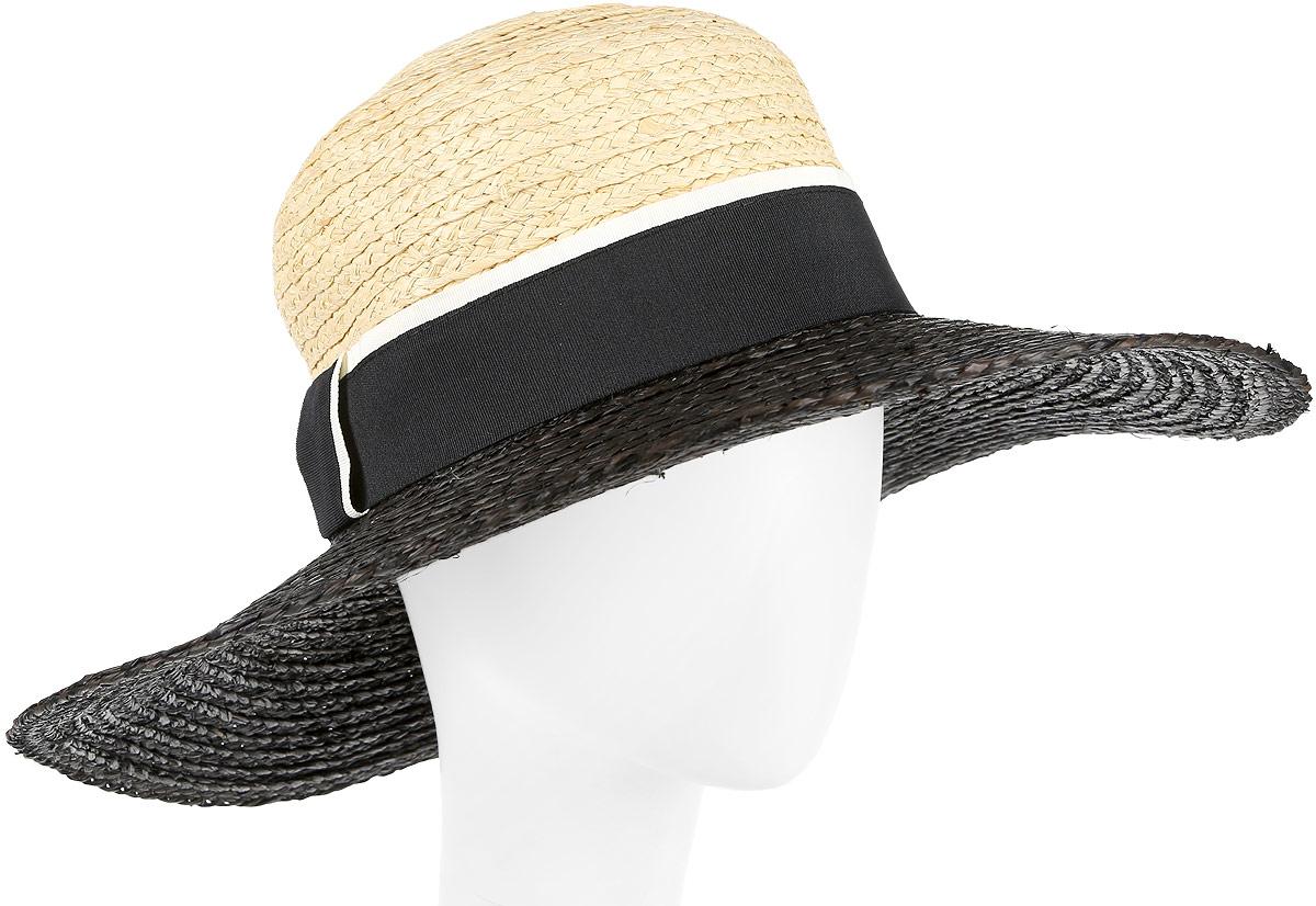 Шляпа женская Fabretti, цвет: черный, бежевый. G30-2/1. Размер универсальныйG30-2/1 BLACK/BEIGEСтильная шляпа для пляжного отдыха и прогулок в солнечные дни.