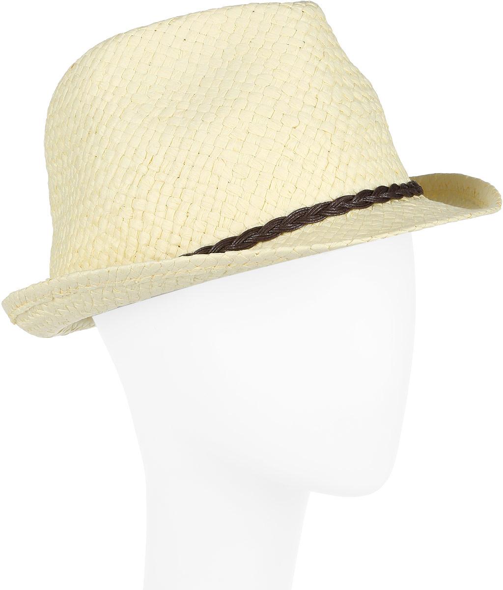 Шляпа женская Canoe Togo, цвет: желтый. 1963763. Размер 561963763Стильная летняя шляпа Canoe Togo, выполненная из искусственной соломы, станет незаменимым аксессуаром для пляжа и отдыха на природе, и обеспечит надежную защиту головы от солнца. Шляпа оформлена декоративным плетеным ремешком. Плетение шляпы обеспечивает необходимую вентиляцию и комфорт даже в самый знойный день. Шляпа легко восстанавливает свою форму после сжатия.Такая шляпа подчеркнет вашу неповторимость и дополнит ваш повседневный образ.