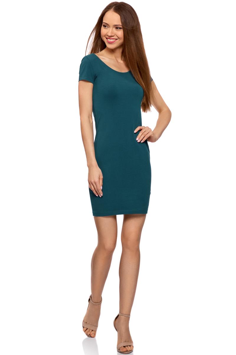 Платье oodji Collection, цвет: голубой. 24001082-2B/47420/7400N. Размер M (46)24001082-2B/47420/7400NПлатье от oodji облегающего силуэта с глубоким вырезом на спине выполнено из эластичного хлопка. Модель с короткими рукавами.