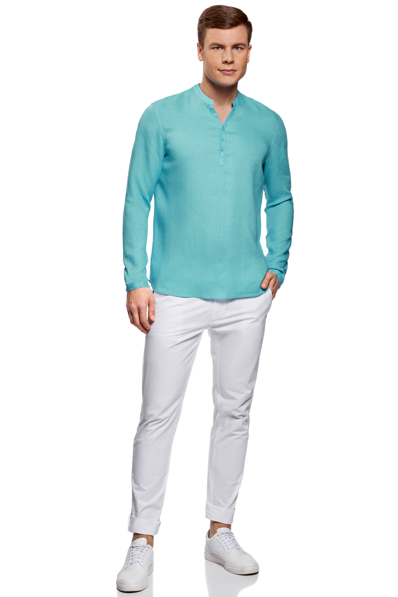 Рубашка мужская oodji Basic, цвет: бирюзовый. 3B320002M/21155N/7300N. Размер L-182 (52/54-182)3B320002M/21155N/7300NМужская рубашка от oodji выполнена из натурального льна. Модель без воротника с длинными рукавами на груди застегивается на пуговицы. Лен идеально подходит для теплой погоды. Он пропускает воздух, не вызывает аллергии, не выцветает на солнце. Льняные вещи просто приятно носить в жаркие дни.