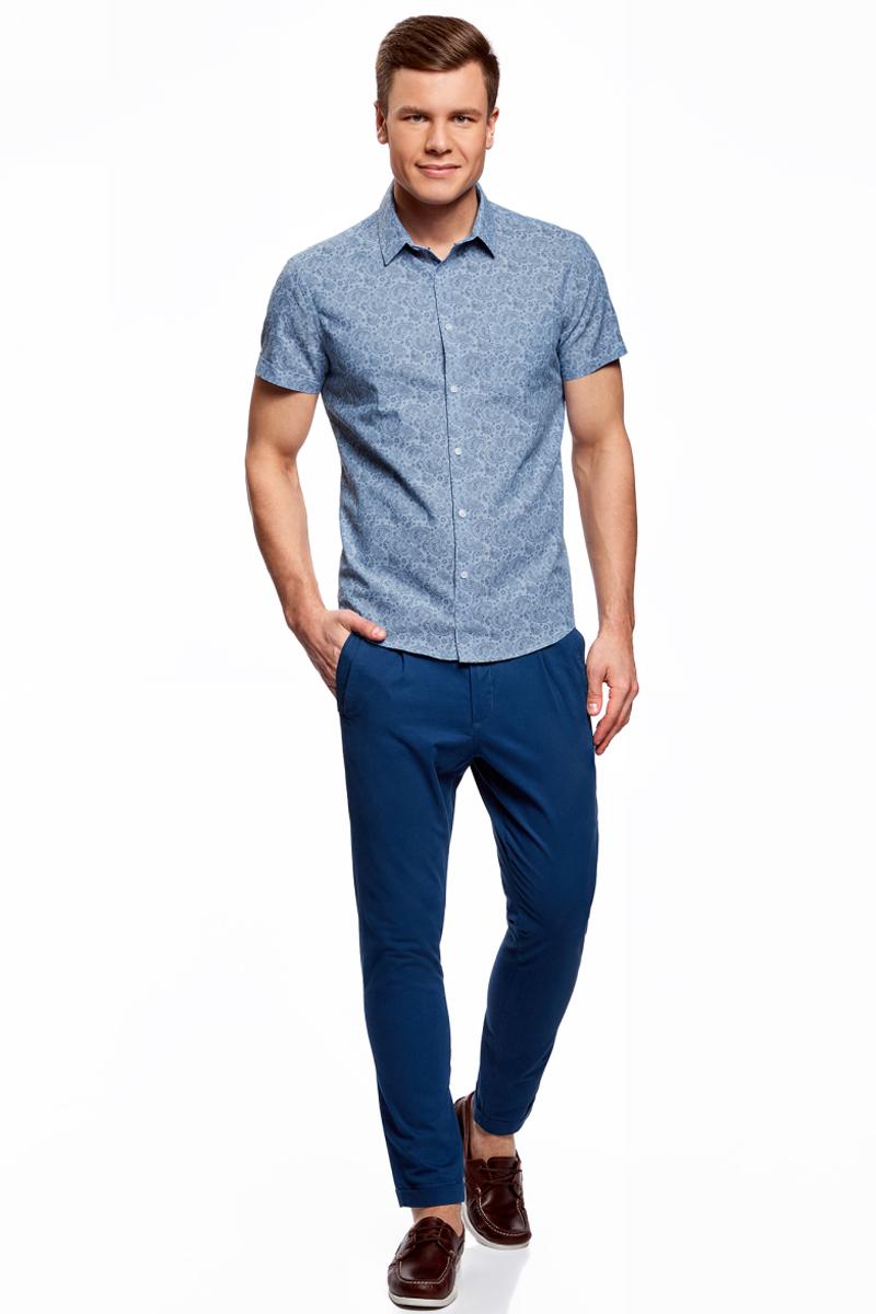Рубашка мужская oodji Lab, цвет: синий, серый. 3L210044M/46877N/7523E. Размер 38-182 (44-182)3L210044M/46877N/7523EМужская рубашка от oodji выполнена из натурального хлопка. Модель приталенного кроя с короткими рукавами застегивается на пуговицы, оформлена принтом пейсли.