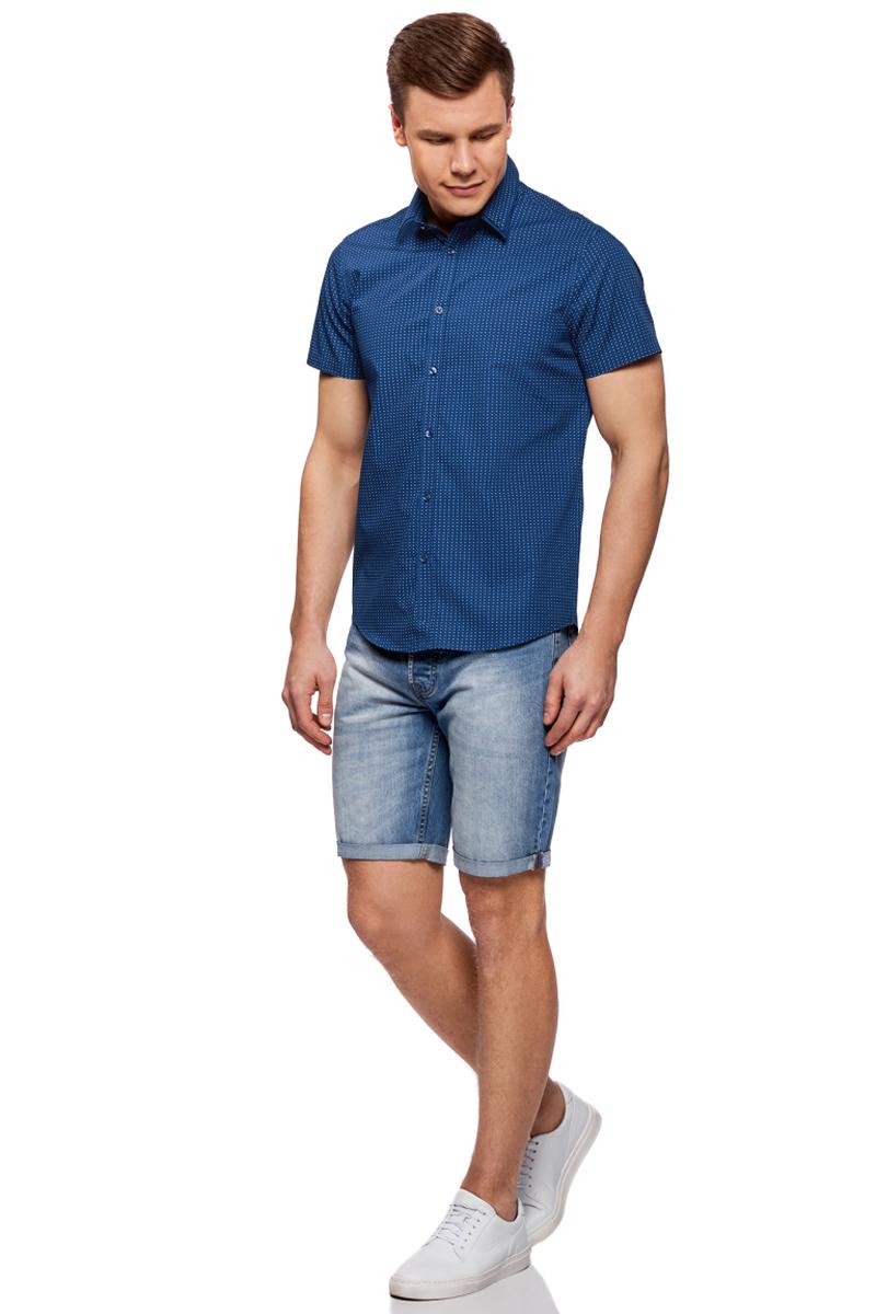 Рубашка мужская oodji Lab, цвет: темно-синий, синий. 3L210046M/44425N/7975G. Размер 42-182 (52-182)3L210046M/44425N/7975GМужская рубашка от oodji выполнена из натурального хлопка. Модель приталенного кроя с короткими рукавами и двойным воротником застегивается на пуговицы.
