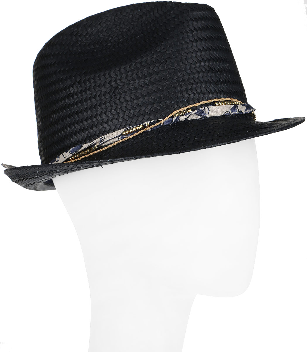Шляпа женская Canoe Mimi, цвет: темно-синий. 1964484. Размер 561964484Женская шляпа-федора Canoe Mimi непременно украсит любой наряд.Шляпа из искусственной соломы вокруг тульи оформлена интересным переплетением. Благодаря своей форме, шляпа удобно садится по голове и подойдет к любому стилю. Плетение шляпы позволяет ей пропускать воздух, что обеспечивает необходимую вентиляцию.Такая шляпа подчеркнет вашу неповторимость и дополнит ваш повседневный образ.