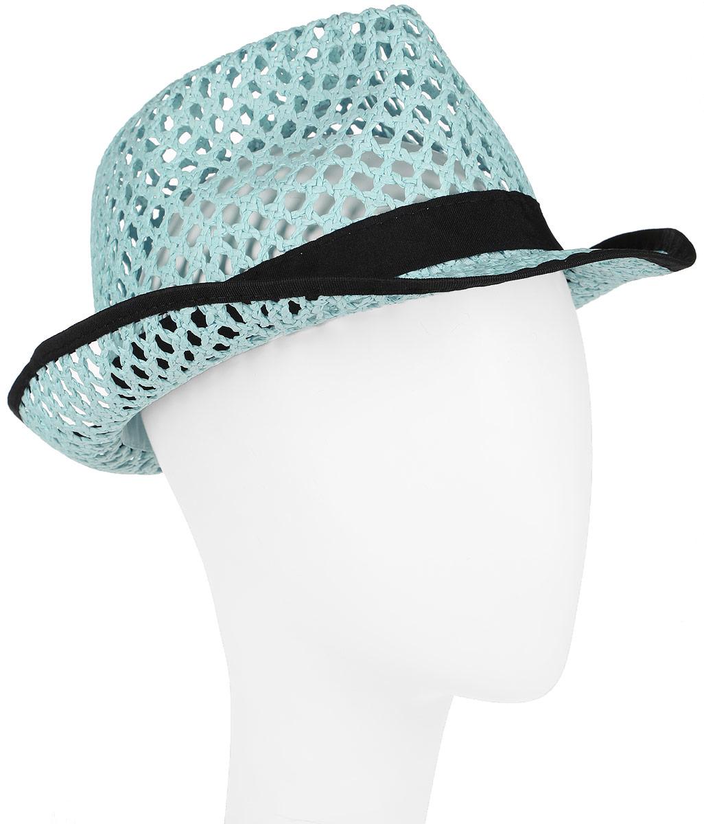 Шляпа женская Canoe Daima, цвет: голубой. 1964525. Размер 561964525Шляпа-федора Canoe Daima непременно украсит любой наряд.Шляпа из искусственной соломы оформлена трикотажным ремешком с логотипом фирмы вокруг тульи. Благодаря своей форме, шляпа удобно садится по голове и подойдет к любому стилю. Плетение шляпы позволяет ей пропускать воздух, что обеспечивает необходимую вентиляцию.Такая шляпа подчеркнет вашу неповторимость и дополнит ваш повседневный образ.