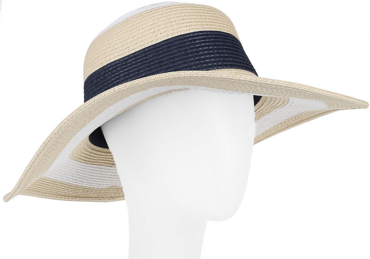 Шляпа женская Canoe Bahamian, цвет: бежевый, синий, белый. 1966084. Размер 561966084Летняя женская шляпа Canoe Bahamian, выполненная из искусственной соломы и прочного полиэстера, станет незаменимым аксессуаром для пляжа и отдыха на природе. Широкие поля шляпы обеспечат надежную защиту от солнечных лучей.Плетение шляпы обеспечивает необходимую вентиляцию и комфорт даже в самый знойный день. Шляпа легко восстанавливает свою форму после сжатия.Стильная шляпа с элегантными волнистыми полями подчеркнет вашу неповторимость и дополнит ваш повседневный образ.