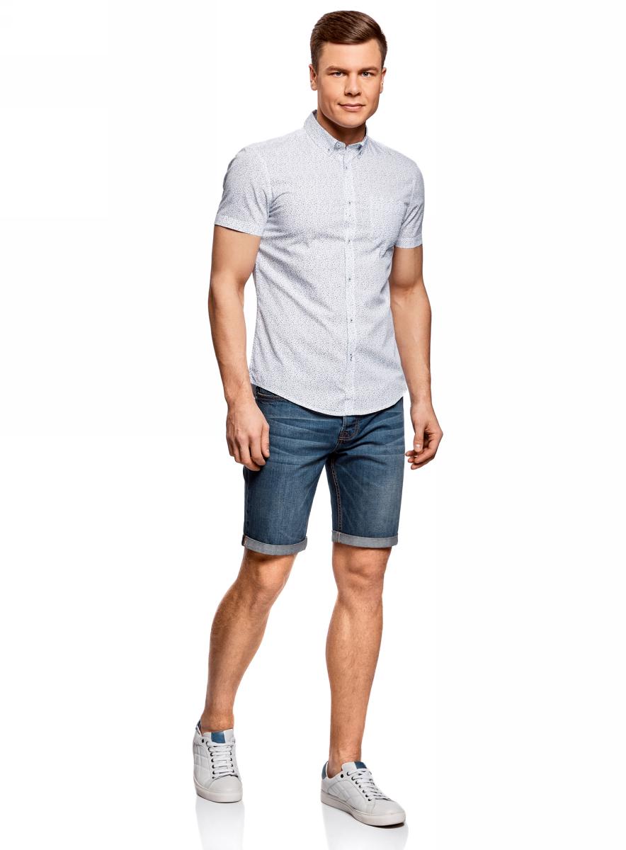 Рубашка мужская oodji Lab, цвет: белый, синий. 3L410101M/39312N/1075G. Размер M-182 (50-182)3L410101M/39312N/1075GМужская рубашка от oodji выполнена из натурального хлопка. Модель с короткими рукавами и нагрудным карманом застегивается на пуговицы.