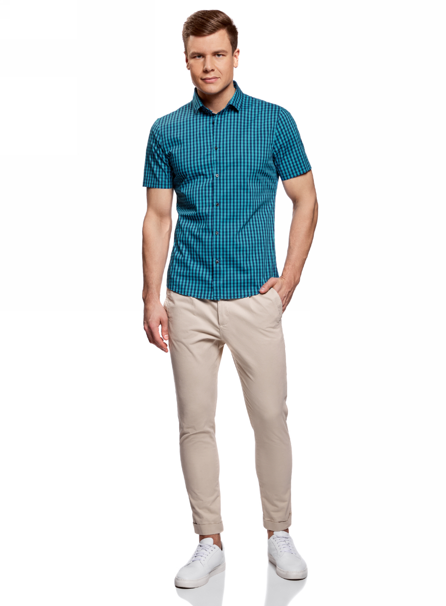 Рубашка мужская oodji Lab, цвет: синий меланж, темно-синий. 3L240005M/39767N/7679C. Размер 38-182 (44-182)3L240005M/39767N/7679CМужская рубашка от oodji выполнена из хлопкового материала. Модель приталенного кроя с длинными рукавами застегивается на пуговицы.