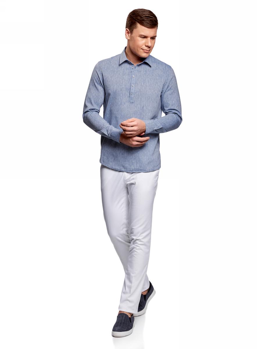 Рубашка мужская oodji Lab, цвет: синий, белый. 3L320001M/46881N/7510G. Размер S-182 (46/48-182)3L320001M/46881N/7510GМужская рубашка от oodji выполнена из хлопкового материала. Модель свободного кроя с длинными рукавами застегивается на пуговицы.