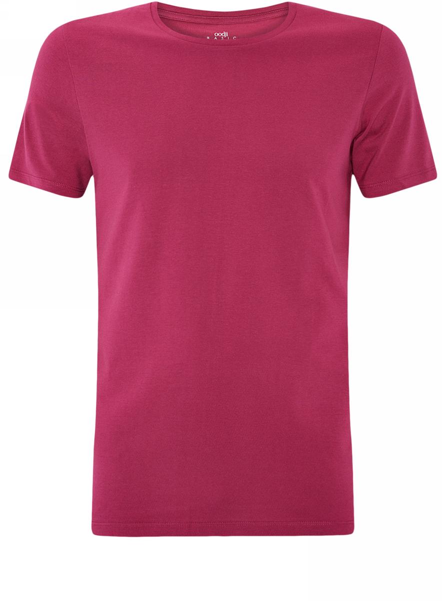 Футболка мужская oodji Basic, цвет: темно-фиолетовый. 5B621002M/44135N/8800N. Размер S (46/48)5B621002M/44135N/8800NМужская футболка oodji Basic изготовлена из высококачественного натурального хлопка. Модель с короткими рукавами и круглым вырезом горловины дополнена эластичной вставкой в цвет изделия по горловине.