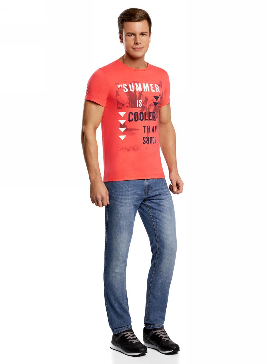 Футболка мужская oodji Lab, цвет: оранжевый, белый. 5L611019I/44135N/5510P. Размер L (52/54)5L611019I/44135N/5510PМужская футболка с круглым вырезом горловины и короткими рукавами выполнена из натурального хлопка. Спереди модель оформлена летним принтом.