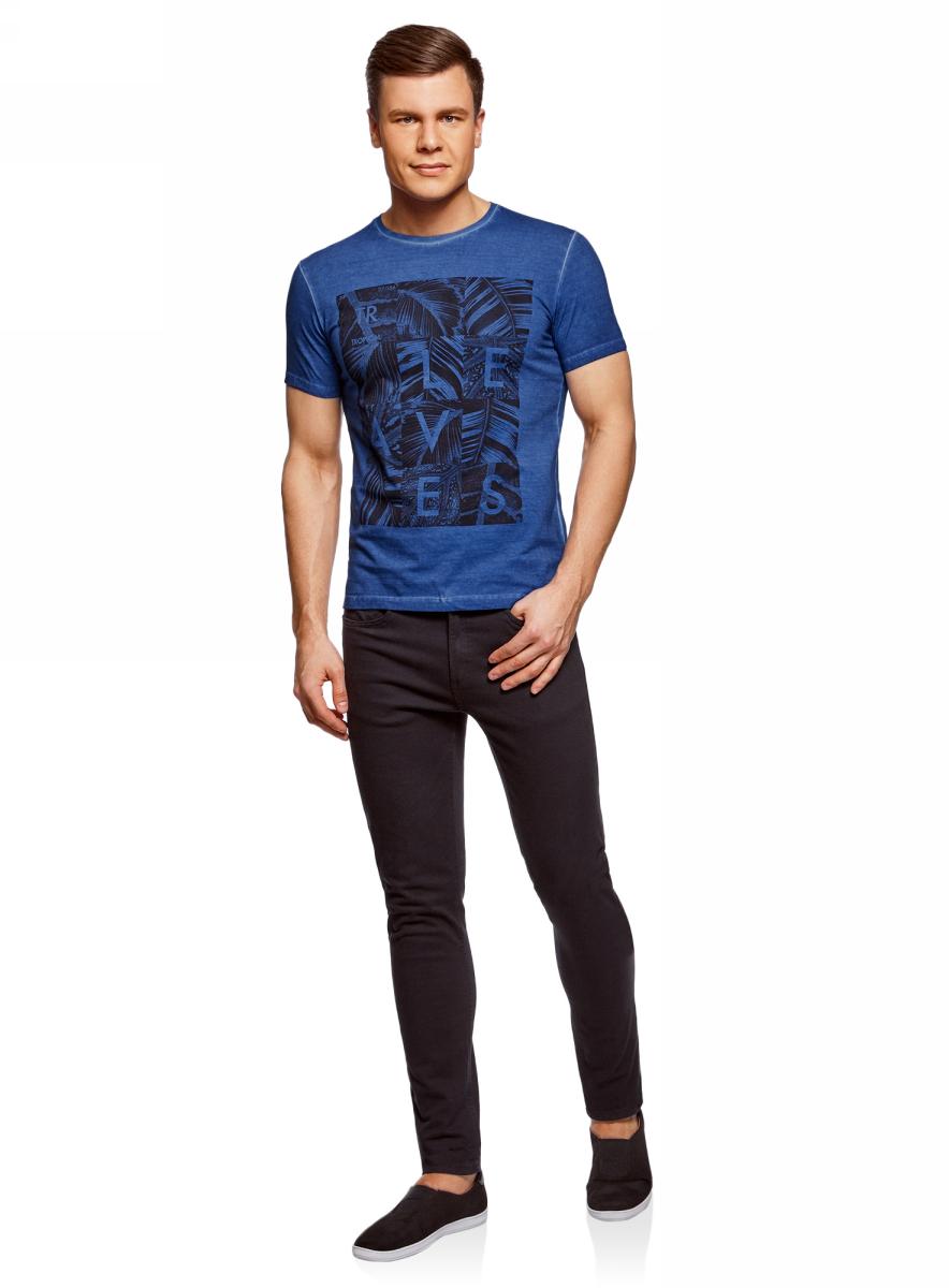 Футболка мужская oodji Lab, цвет: синий. 5L611375M/39485N/7575P. Размер XL (56)5L611375M/39485N/7575PМужская футболка с круглым вырезом горловины и короткими рукавами выполнена из натурального хлопка. Спереди модель оформлена принтом.