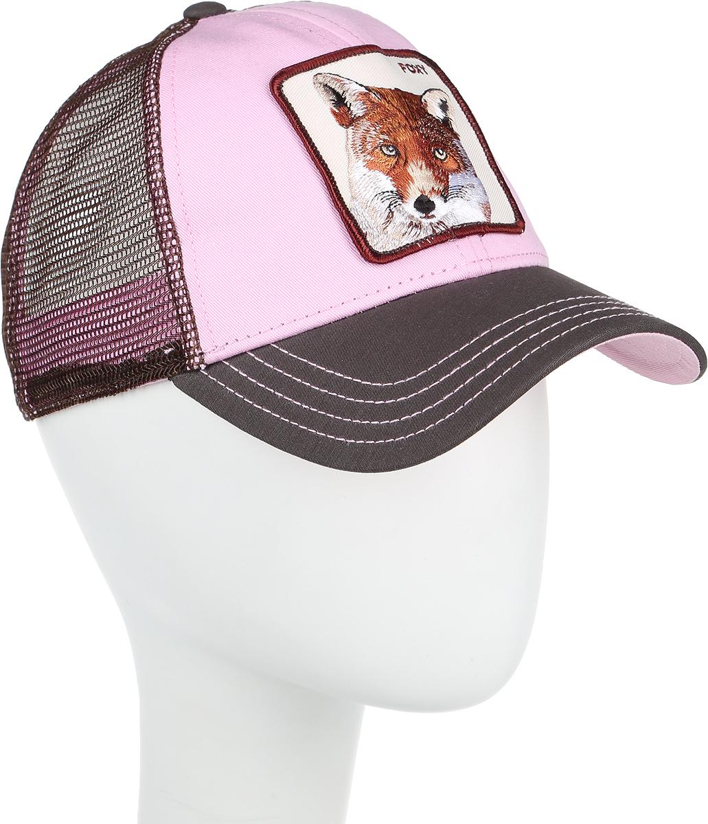 Бейсболка Goorin Brothers Foxy Baby, цвет: розовый, коричневый. 16-685-34-00. Размер универсальный16-685-34-00Стильная бейсболка Goorin Brothers, выполненная из полиэстера и хлопка, идеально подойдет для прогулок, занятия спортом и отдыха. Она надежно защитит вас от солнца и ветра. Задняя часть имеет сетчатую вставку для вентиляции воздуха. Изделие оформлено нашивкой с изображением лисы и надписью Foxy. Обхват регулируется с помощью пластикового ремешка.