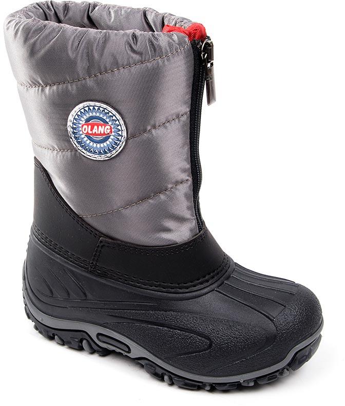 Дутики для мальчика Olang, цвет: серый. BMX 816-W. Размер 21/22BMX 816-WСтильные дутики Olang придутся по вкусу вашему ребенку. Ботиночная часть сапог делается из водоотталкивающей резины, а верхняя из уплотненного текстиля. Обувь отличается удобными колодками и усилением швов носика и задней части изделия. Фиксируются с помощью молниевой застежки. Подошва обуви изготовлена из термопластиковой резины, которая по многим параметрам обыгрывает обычную резину. Это экологически чистый материал, он выдерживает очень низкие температуры. У него очень хорошая эластичность, низкая истираемость и высокая носкость. Внутренний слой обуви и стельки производятся из натуральной шерсти. Рифленая подошва из такой резины обладает плохим скольжением, что обеспечивает хорошую защиту ребенка во время гололедицы.