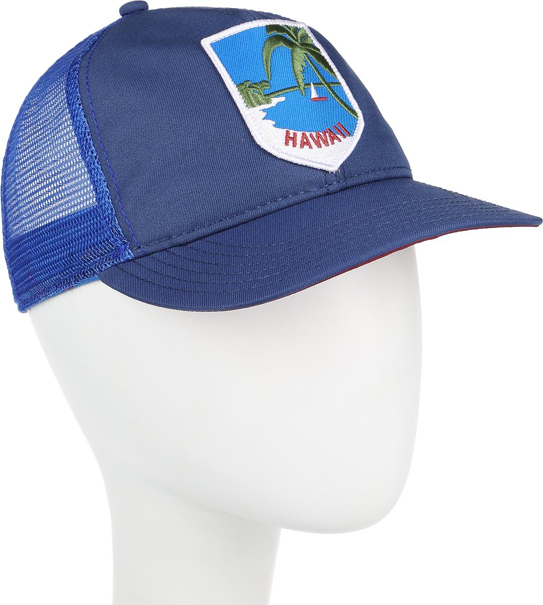 Бейсболка Goorin Brothers HAPPY PLACE, цвет: синий. 91-180-06-00. Размер универсальный91-180-06-00HAPPY PLACE - классическая бейсболка-тракер, сшитая с сеточкой в задней части. Сзади также имеется пластиковый ремешок для регулировки по размеру головы. На передней панели нашивка с изображением тропического побережья и надписью HAWAII. Отличный, простой и надежный летний вариант на любой случай.