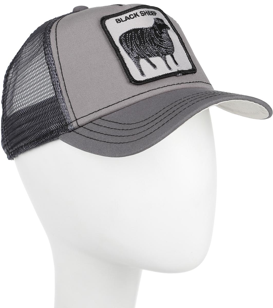 Бейсболка Goorin Brothers Shades of Black, цвет: серый. 91-072-08-00. Размер универсальный91-072-08-00Стильная бейсболка Goorin Brothers, выполненная из полиэстера и хлопка, идеально подойдет для прогулок, занятия спортом и отдыха. Она надежно защитит вас от солнца и ветра. Задняя часть имеет сетчатую вставку для вентиляции воздуха. Изделие оформлено нашивкой с изображением овцы и надписью Black Sheep. Обхват регулируется с помощью пластикового ремешка.