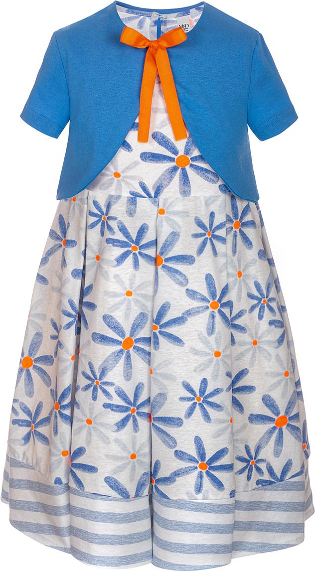 Платье для девочки M&D, цвет: белый, голубой, оранжевый. SJD27053M77. Размер 116SJD27053M77Платье для девочки от M&D изготовлено из натурального хлопка и оформлено цветочным принтом. Модель-миди без рукавов и с круглым вырезом горловины застегивается сзади на пуговицу. Платье дополнено накидкой с короткими рукавами и завязками.