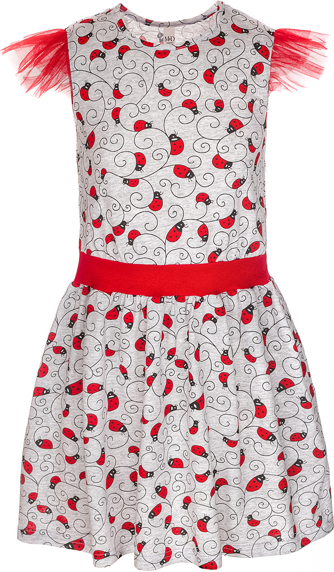 Платье для девочки M&D, цвет: серый меланж, красный, черный. SJD27069M82. Размер 110SJD27069M82Платье для девочки от M&D изготовлено из натурального хлопка. Модель-миди с короткими рукавами-крылышками и круглым вырезом горловины оформлено оригинальным принтом.