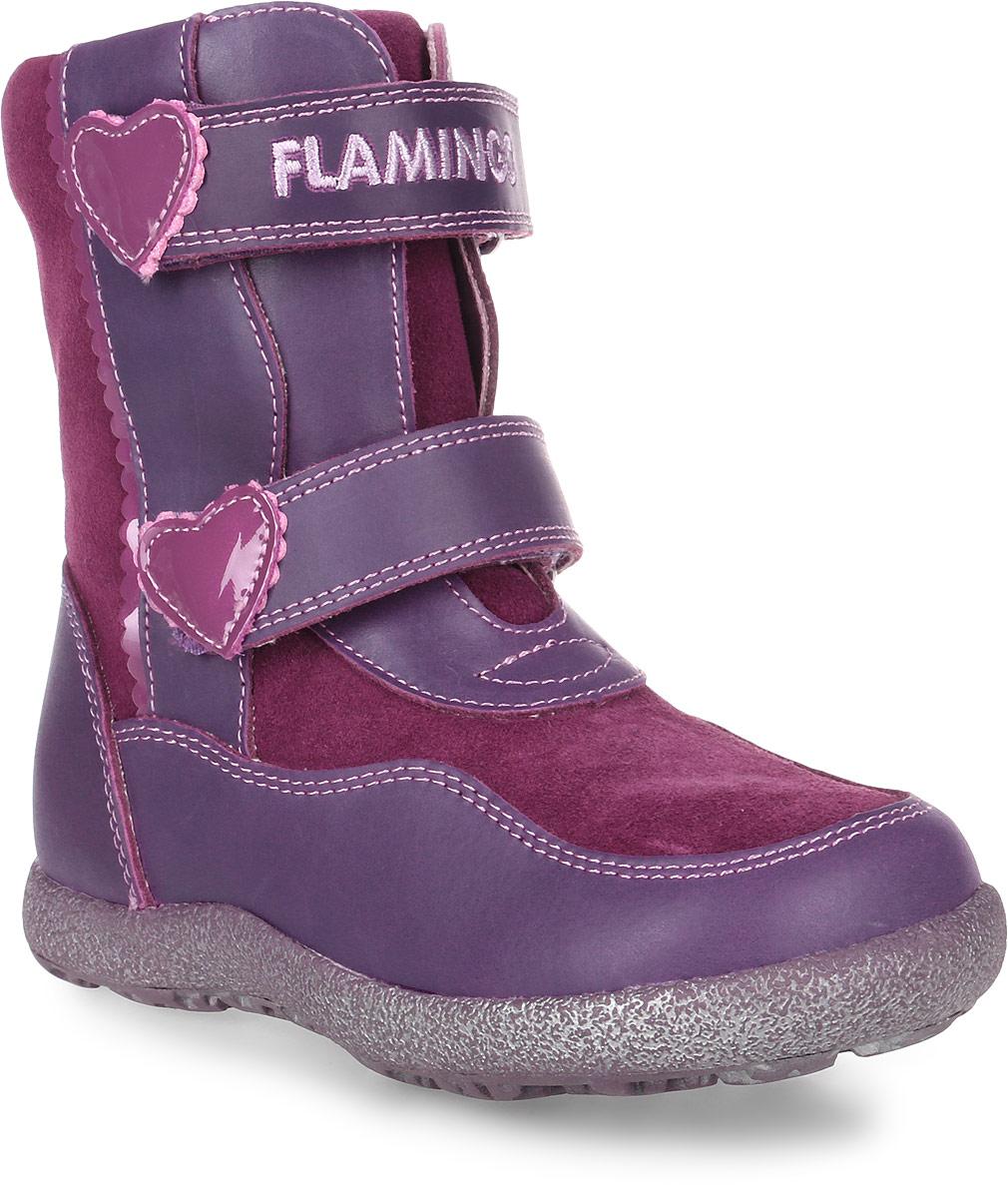 Ботинки для девочки Flamingo, цвет: фиолетовый, бордовый. LC3915. Размер 32LC3915Модные ботинки для девочки от Flamingo выполнены из натуральной кожи. Подкладка и стелька из натуральной шерсти не дадут ногам замерзнуть. Ремешки с застежками-липучками надежно зафиксируют модель на ноге. Застегивается модель на боковую застежку-молнию. Подошва дополнена рифлением.