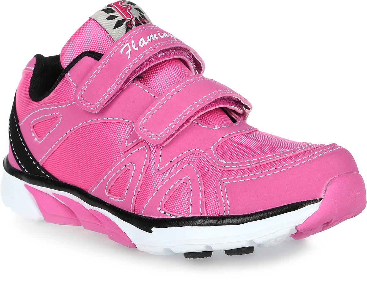 Кроссовки для девочки Flamingo, цвет: розовый, черный. 71K-GL-0047. Размер 2571K-GL-0047Модные кроссовки для девочки от Flamingo выполнены из текстиля и искусственной кожи. Подкладка из текстиля не натирает. Стелька из натуральной кожи комфортна при движении. Ремешки с застежками-липучками надежно зафиксируют модель на ноге. Подошва дополнена рифлением.