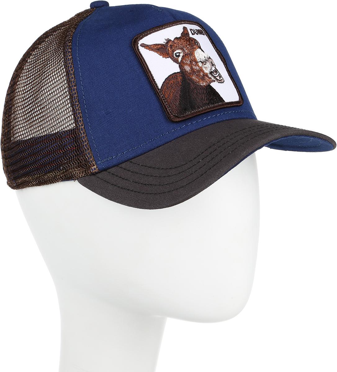 Бейсболка Goorin Brothers DUMB ASS, цвет: синий, коричневый. 91-188-06-00. Размер универсальный91-188-06-00Стильная бейсболка Goorin Brothers, выполненная из полиэстера и хлопка, идеально подойдет для прогулок, занятия спортом и отдыха. Она надежно защитит вас от солнца и ветра. Задняя часть имеет сетчатую вставку для вентиляции воздуха. Изделие оформлено нашивкой с изображением осла и надписью DUMB. Обхват регулируется с помощью пластикового ремешка.