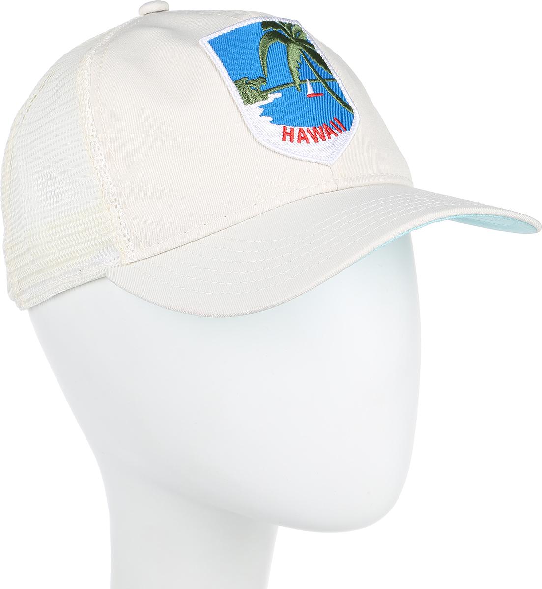 Бейсболка Goorin Brothers HAPPY PLACE, цвет: белый. 91-180-17-00. Размер универсальный91-180-17-00HAPPY PLACE - классическая бейсболка-тракер, сшитая с сеточкой в задней части. Сзади также имеется пластиковый ремешок для регулировки по размеру головы. На передней панели нашивка с изображением тропического побережья и надписью HAWAII. Отличный, простой и надежный летний вариант на любой случай.