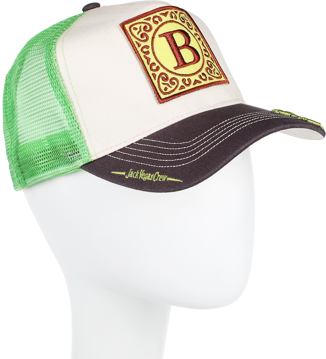 Бейсболка Herman Jack B, цвет: зеленый, белый, серый. 80-163-11-00. Размер универсальный80-163-11-00Jack B - яркая бейсболка с сеткой от Herman 1874, из специальной линейки Jack Vegas Crew! На укрепленной передней панели есть нашивка с буквой B - заглавной в слове Beast. Расшифровку слова вы найдете на нижней части козырька, верхняя же часть украшена объемной вышивкой с названием и логотипом коллекции. Бейсболка хорошо вентилируется. Сверху модель украшена пуговкой. Размер регулируется сзади пластиковым ремешком. Внутри пришита лента для удобной посадки.