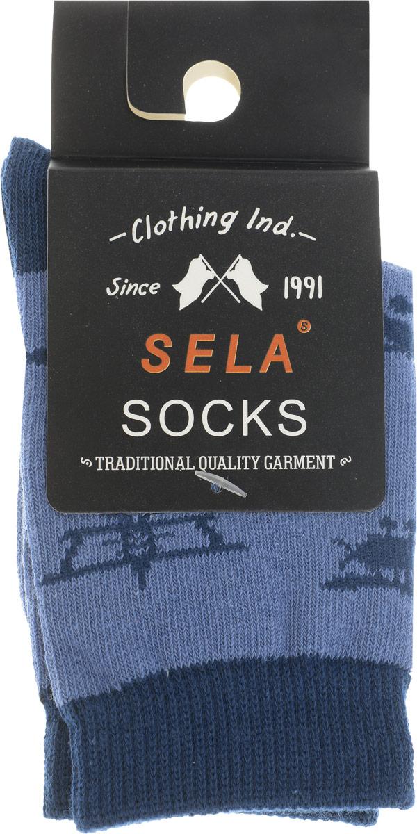 Носки для мальчика Sela, цвет: голубой. SOb-7854/035-7101. Размер 16/18SOb-7854/035-7101Укороченные носки для мальчика Sela - отличный вариант для повседневной носки. Носки изготовлены из эластичного хлопка с добавлением полиамида и оформлены оригинальным принтом.Широкая эластичная резинка надежно фиксирует носки на ноге, не доставляя дискомфорта. Уважаемые клиенты! Размер, доступный для заказа, является длиной стопы.