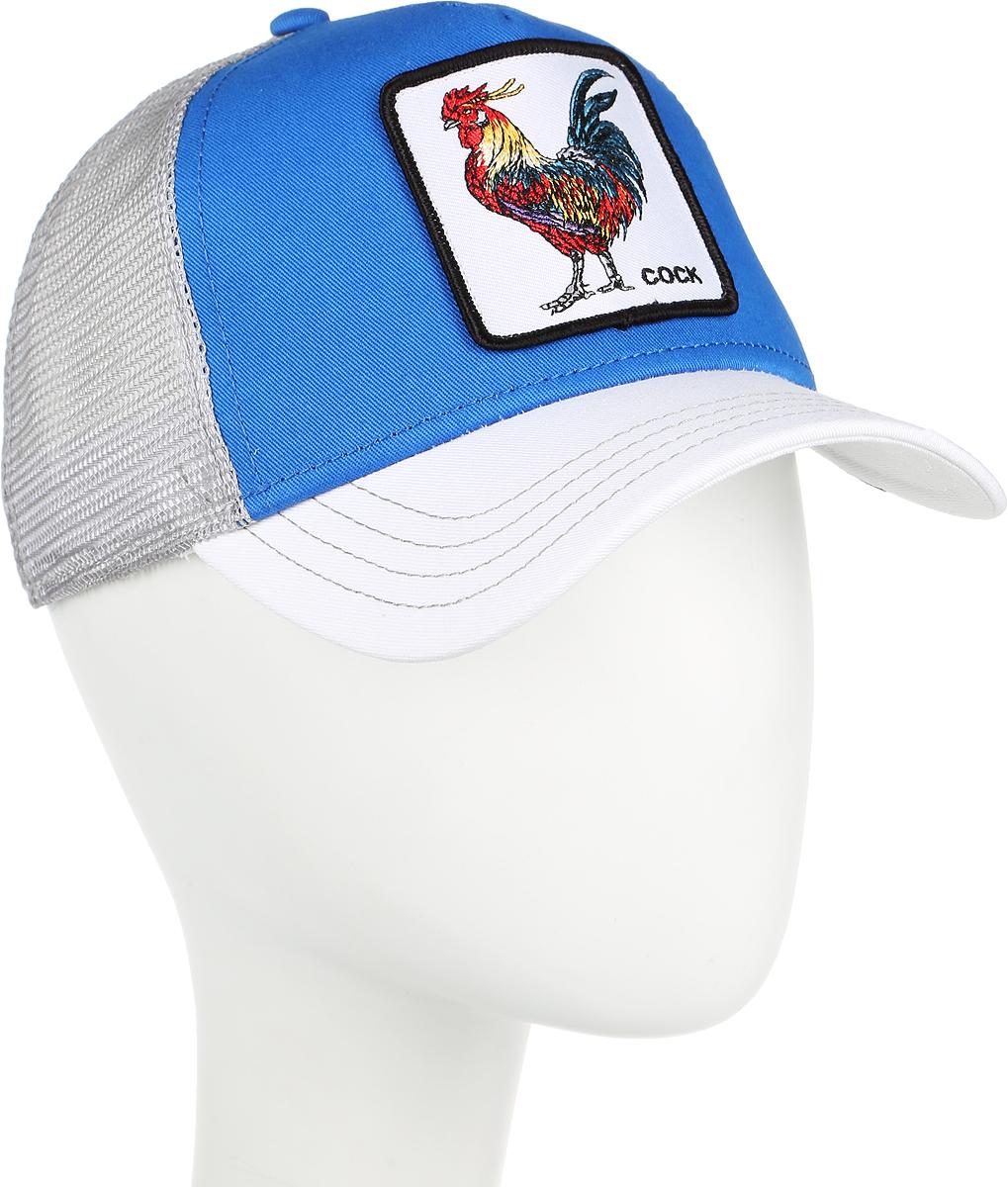 Бейсболка Goorin Brothers GALLO, цвет: синий, белый. 91-106-95-00. Размер универсальный91-106-95-00Стильная бейсболка Goorin Brothers, выполненная из полиэстера и хлопка, идеально подойдет для прогулок, занятия спортом и отдыха. Она надежно защитит вас от солнца и ветра. Задняя часть имеет сетчатую вставку для вентиляции воздуха. Изделие оформлено нашивкой с изображением петуха и надписью Cock. Обхват регулируется с помощью пластикового ремешка.