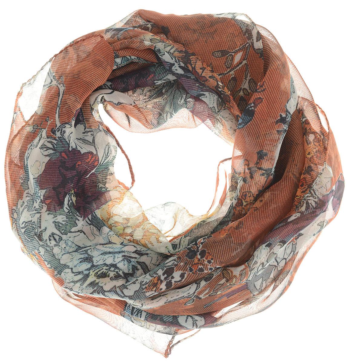 Шарф женский Ethnica, цвет: терракотовый, серый. 262040. Размер 50 см х 170 см262040Стильный шарф привлекательной расцветки изготовлен из 100% вискозы. Он удачно дополнит ваш гардероб и поможет создать новый повседневный образ, добавить в него яркие краски. Отличный вариант для тех, кто стремится к самовыражению и новизне!
