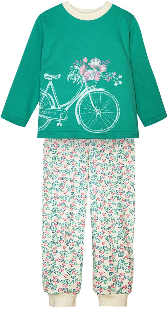 Пижама для девочки КотМарКот, цвет: бирюзовый, розовый, белый. 16126. Размер 11016126Пижама для девочки КотМарКот, состоящая из лонгслива и брюк, выполнена из натурального хлопка. Лонгслив с длинными рукавами и круглым вырезом горловины на груди оформлен крупным принтом. Брюки с широкой эластичной резинкой на поясе оформлены оригинальным принтом. Низ брючин дополнен трикотажными манжетами.