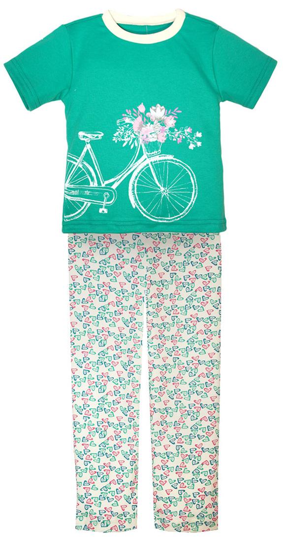 Пижама для девочки КотМарКот, цвет: бирюзовый, розовый, белый. 16226. Размер 12216226Пижама для девочки КотМарКот, состоящая из футболки и брюк, выполнена из натурального хлопка. Футболка с короткими рукавами и круглым вырезом горловины на груди оформлена крупным принтом. Брюки прямого кроя с широкой эластичной резинкой на поясе оформлены оригинальным принтом.