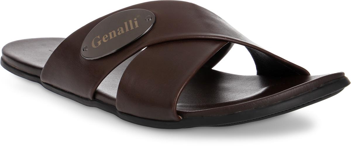 Шлепанцы мужские Genalli, цвет: коричневый. HF90269-1. Размер 39HF90269-1Мужские шлепанцы Genalli выполнены из качественной натуральной кожи. Кожаная стелька создает комфорт при движении. Рельефная подошва из полимерного термопластичного материала гарантирует хорошую амортизацию и сцепление с любой поверхностью.