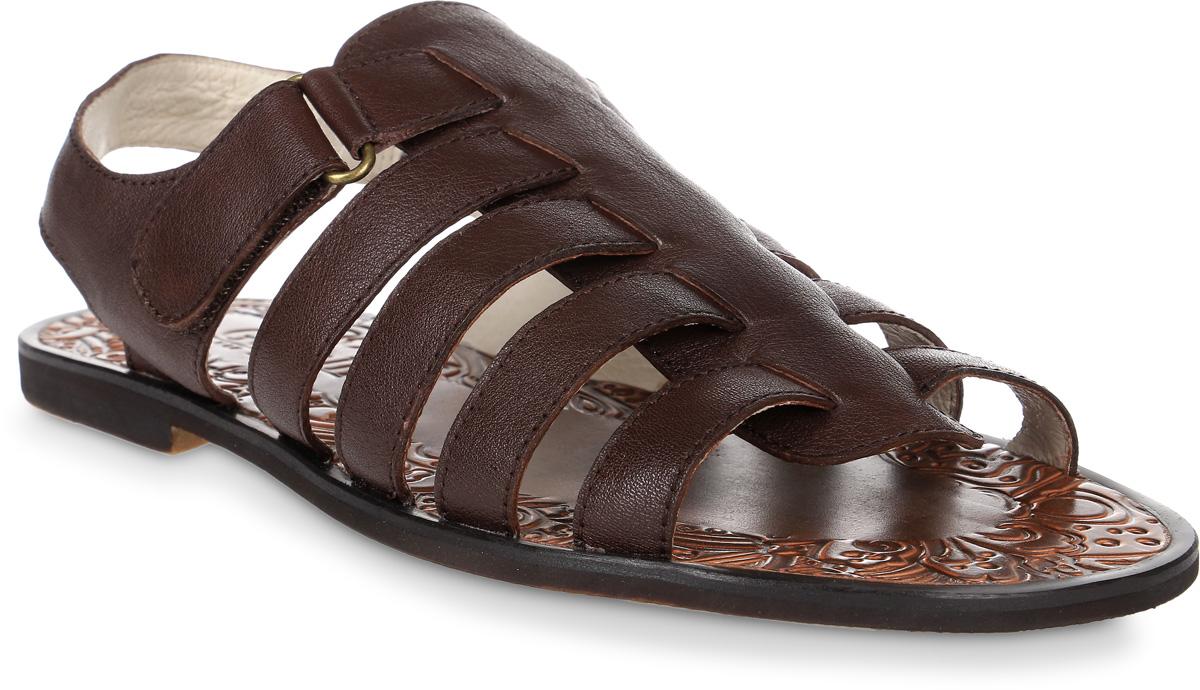 Сандалии мужские Genalli, цвет: коричневый. D11605-6A. Размер 43D11605-6AМужские сандалии Genalli выполнены из качественной натуральной кожи. Внутренняя поверхность из натуральной кожи и рельефная стелька создают комфорт при движении. Подошва выполнена из полимерного термопластичного материала. Модель фиксируется на ноге при помощи липучки.