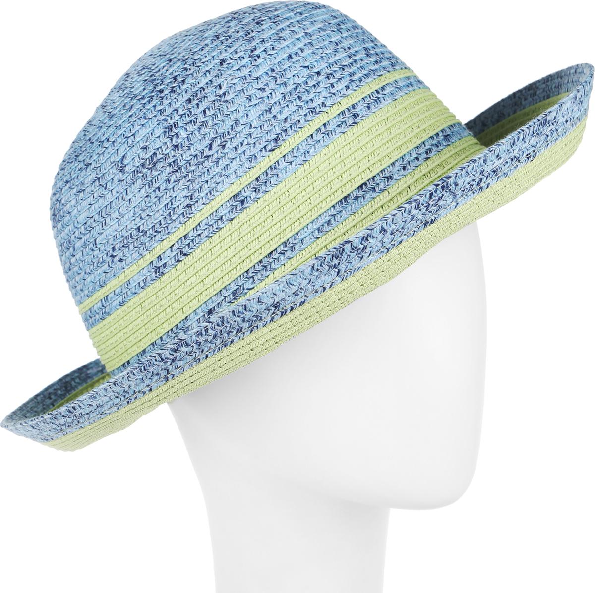 Шляпа женская Avanta, цвет: светло-зеленый, голубой. 992122. Размер 55/56992122Элегантная женская шляпа Avanta выполнена из полиэстера с добавлением бумаги. Модель с невысокой тульей и загнутыми вниз полями. Шляпа на тулье сбоку, дополнена металлической пластиной с кристаллами и логотипом бренда.