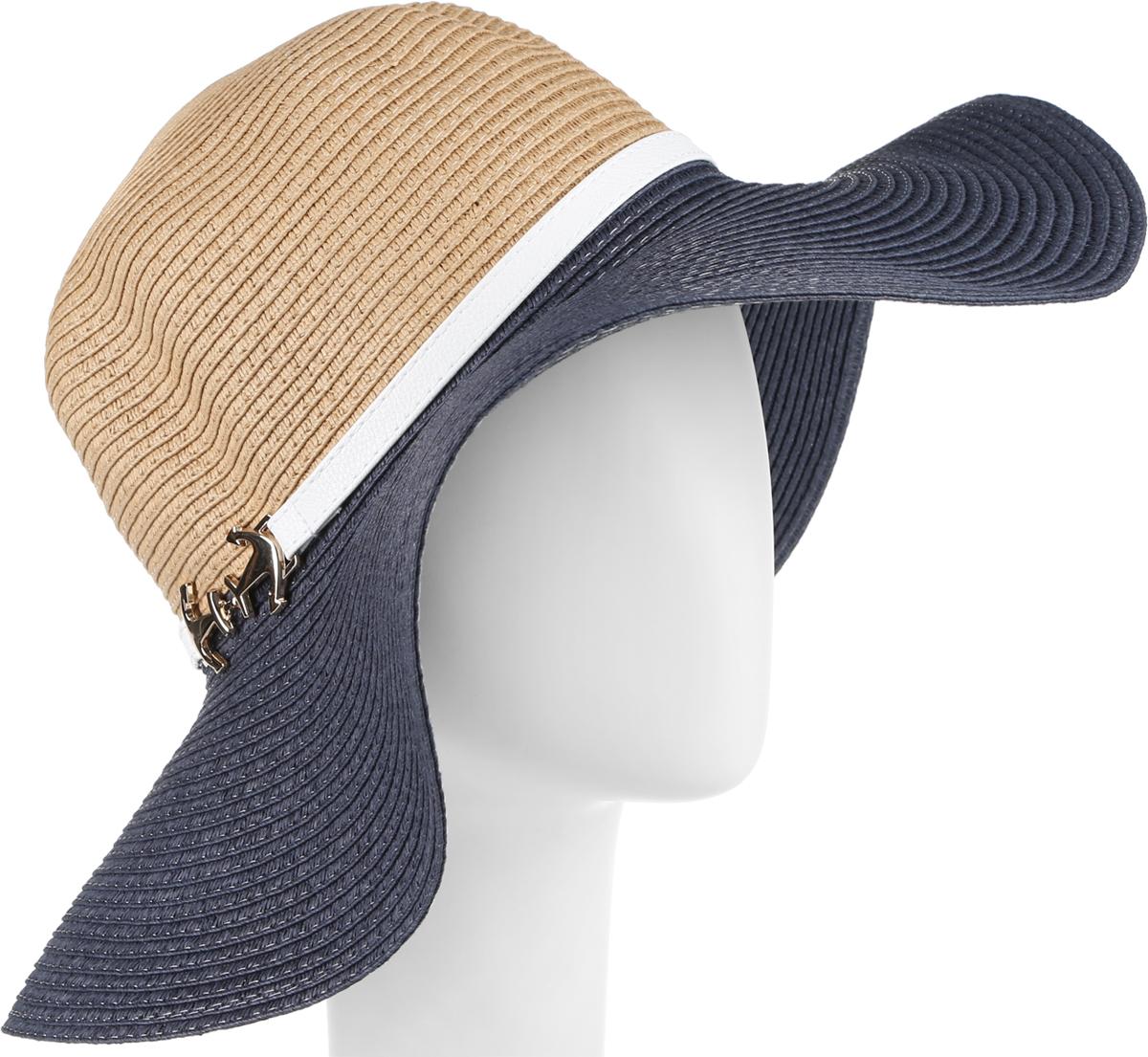 Шляпа женская Fabretti, цвет: бежевый, голубой. GL34-3/5. Размер универсальныйGL34-3/5 BEIGE/BLUEСтильная шляпа от Fabretti для пляжного отдыха и прогулок в солнечные дни.