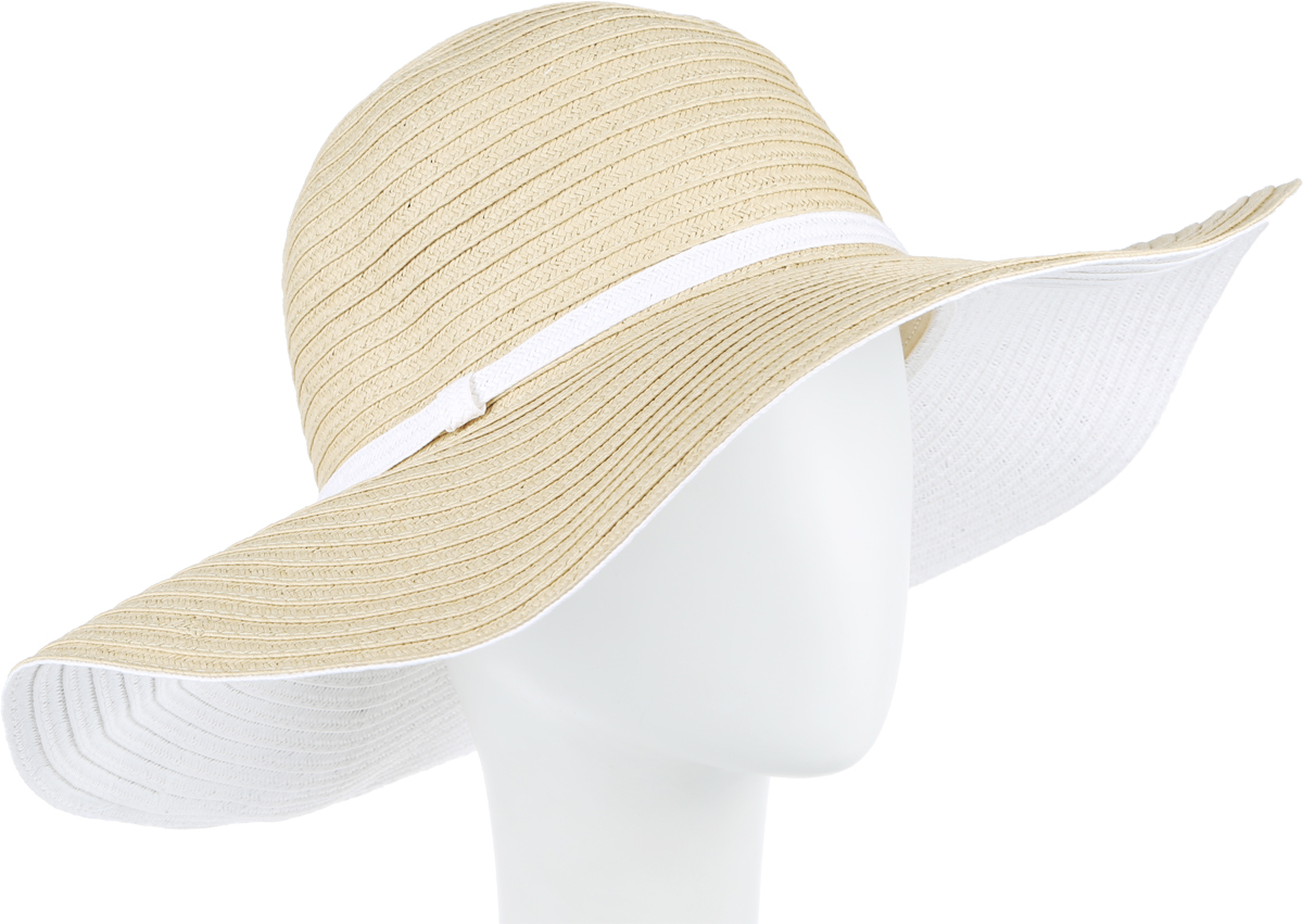 Шляпа женская Fabretti, цвет: бежевый, белый. G32-3/4. Размер универсальныйG32-3/4 BEIGE/WHITEСтильная шляпа для пляжного отдыха и прогулок в солнечные дни.