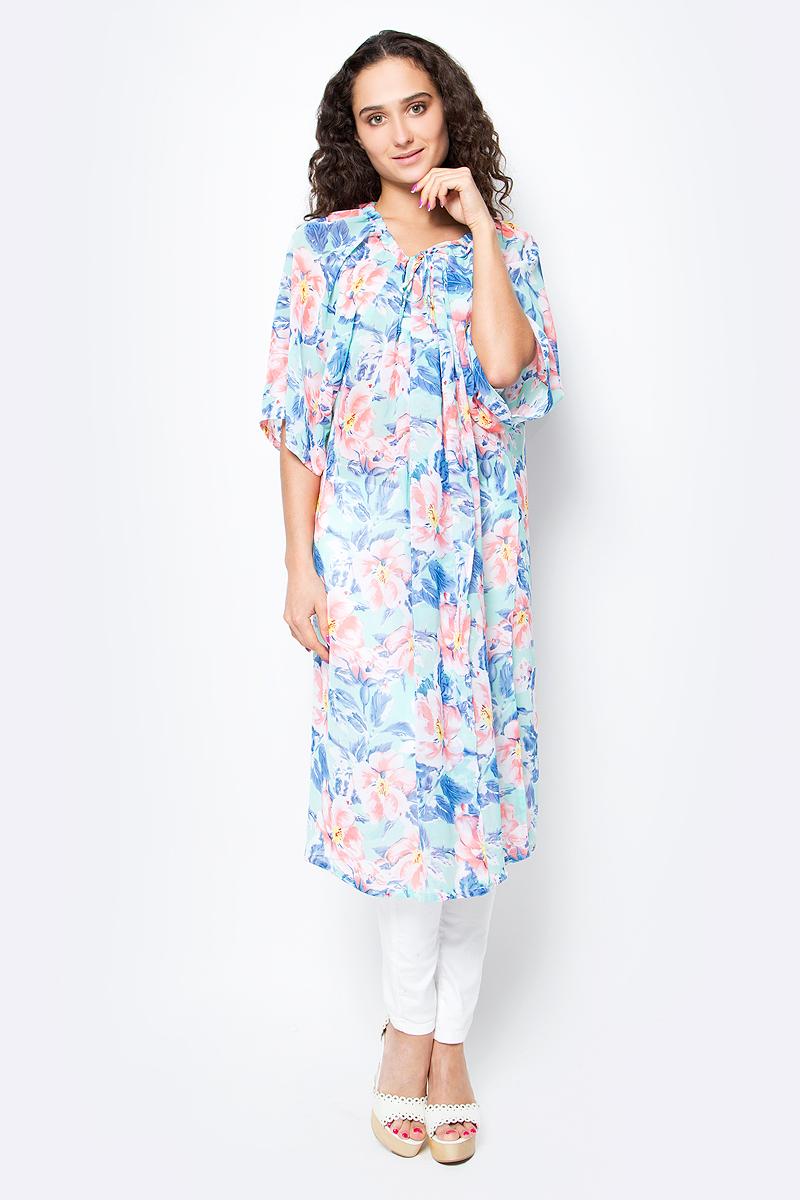 Туника женская Vittorio Richi, цвет: голубой. Ro03B1233-GY6. Размер L/XXXXL (48/60)Ro03B1233-GY6Длинное платье-туника с регулируемым запахом на груди. Свободный крой, широкие рукава и яркий принт. Идеально подходит для отдыха на пляже.
