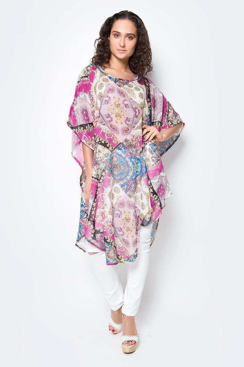 Туника женская Vittorio Richi, цвет: красный, синий. Ro03B1015-3-1. Размер M/XXXXL (46/60)Ro03B1015-3-1Летняя туника средней длины из атласной ткани. Свободный крой с разрезами по бокам и рукавами-кимоно. Большой выбор принтов.