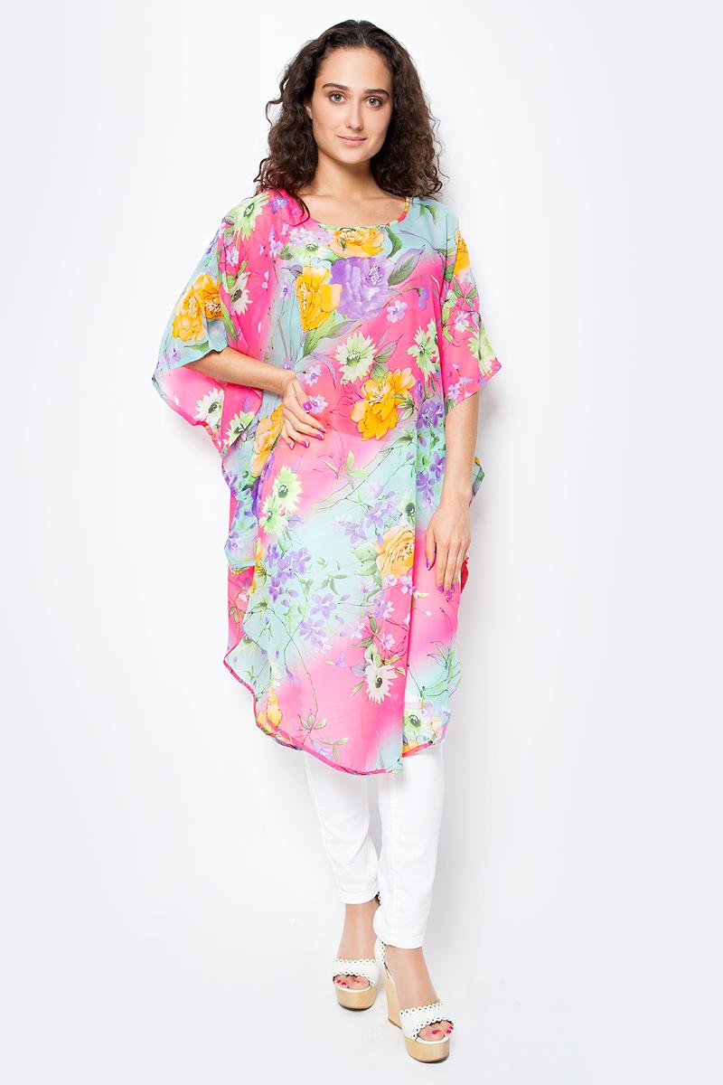 Туника женская Vittorio Richi, цвет: розовый. Ro03B1015-11-3. Размер M/XXXXL (46/60)Ro03B1015-11-3Летняя туника средней длины из атласной ткани. Свободный крой с разрезами по бокам и рукавами-кимоно. Большой выбор принтов.