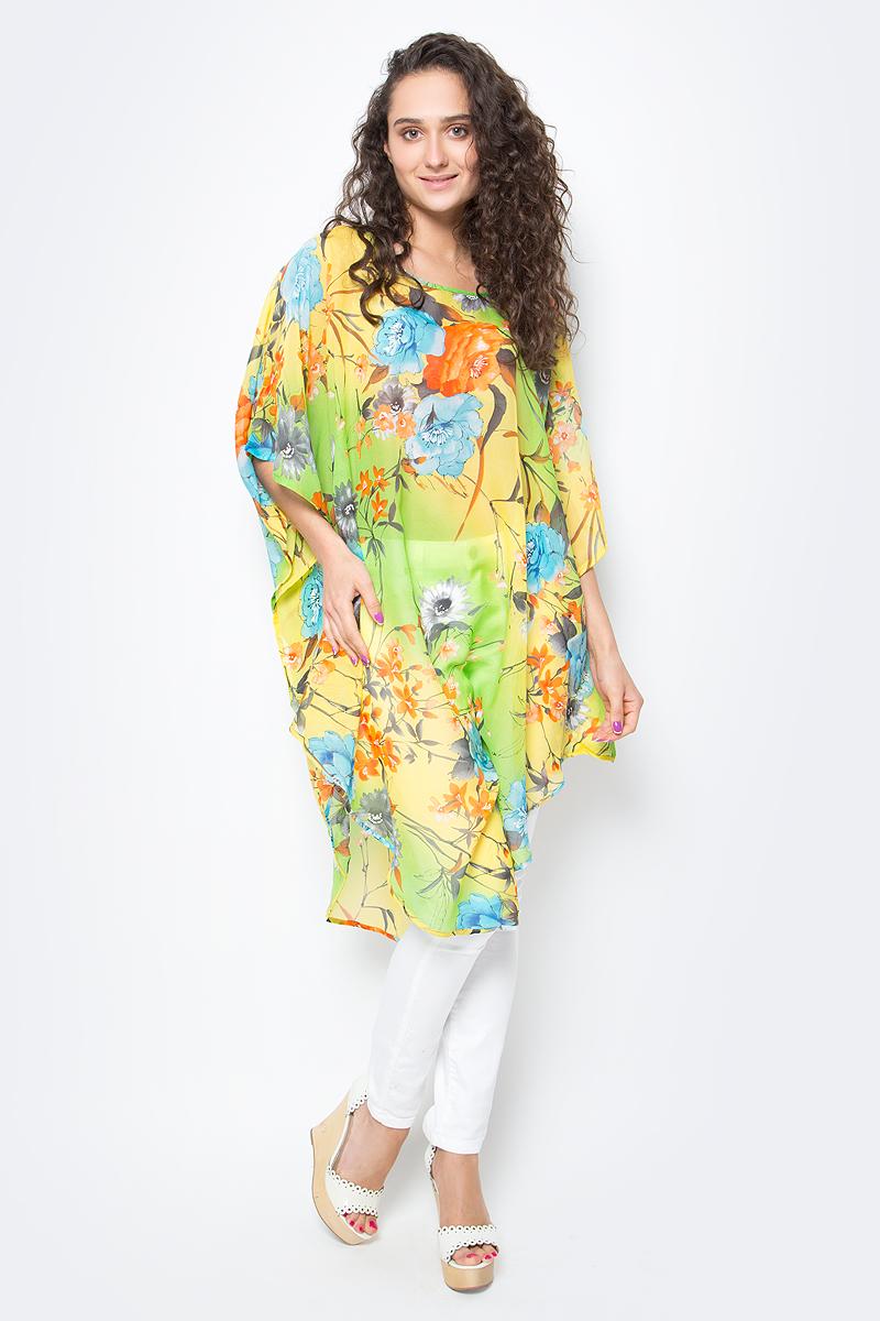 Туника женская Vittorio Richi, цвет: зеленый. Ro03B1015-11-1. Размер M/XXXXL (46/60)Ro03B1015-11-1Летняя туника средней длины из атласной ткани. Свободный крой с разрезами по бокам и рукавами-кимоно. Большой выбор принтов.