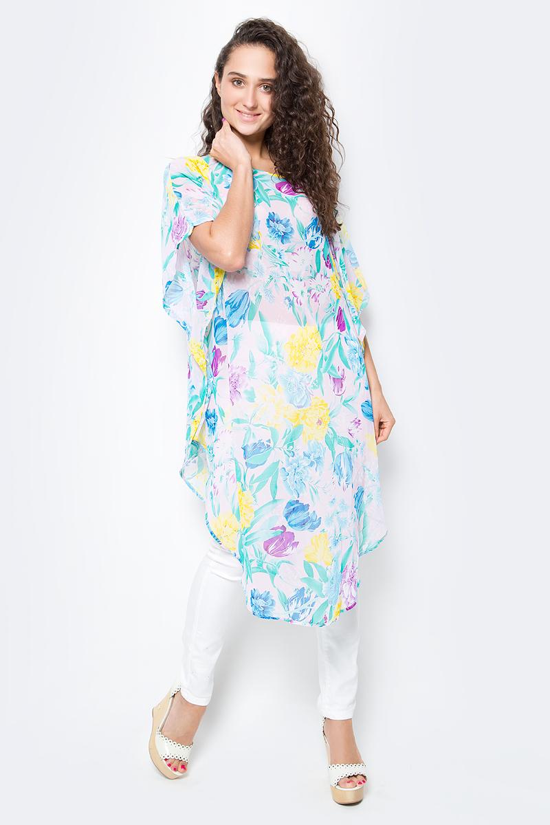 Туника женская Vittorio Richi, цвет: голубой. Ro03B1015-30-5. Размер M/XXXXL (46/60)Ro03B1015-30-5Летняя туника средней длины из атласной ткани. Свободный крой с разрезами по бокам и рукавами-кимоно. Большой выбор принтов.