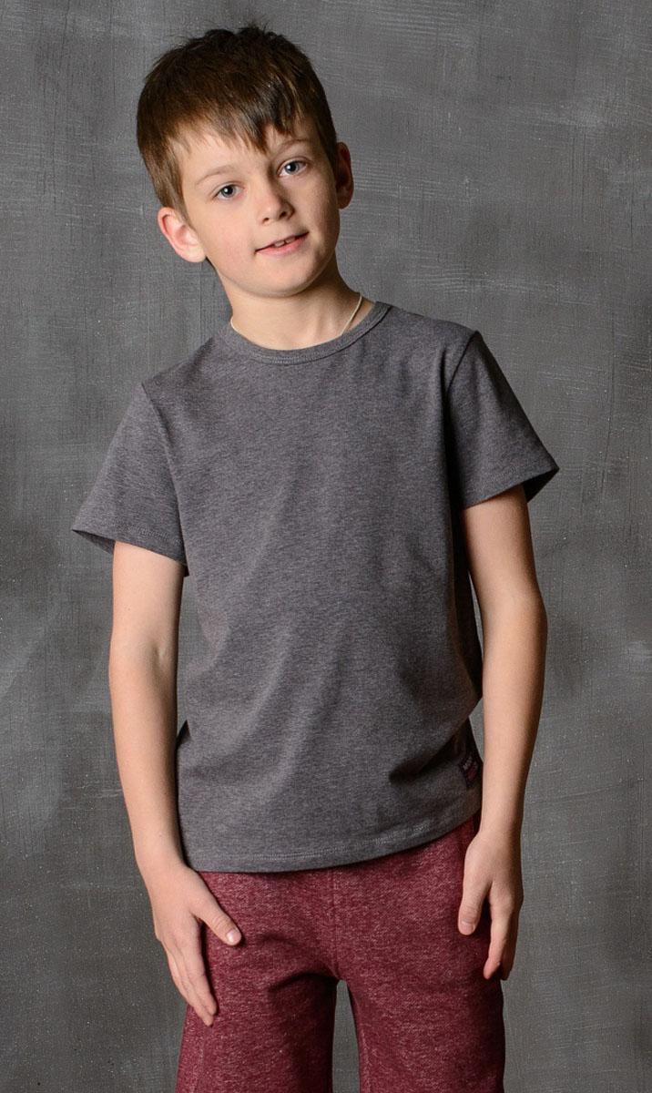 Футболка для мальчика Modniy Juk, цвет: антрацитовый. 01B00110102. Размер 164/17001B00110102/MODNIY_/Стильная футболка для мальчика Modniy Juk изготовлена из высококачественного легкого хлопка, она приятна на ощупь, не раздражает нежную и чувствительную кожу ребенка, позволяя ей дышать. Модель имеет полуприлегающий силуэт, круглый вырез горловины не стесняет движения. Изделие дополнено ярким принтом в стиле Modniy Juk.
