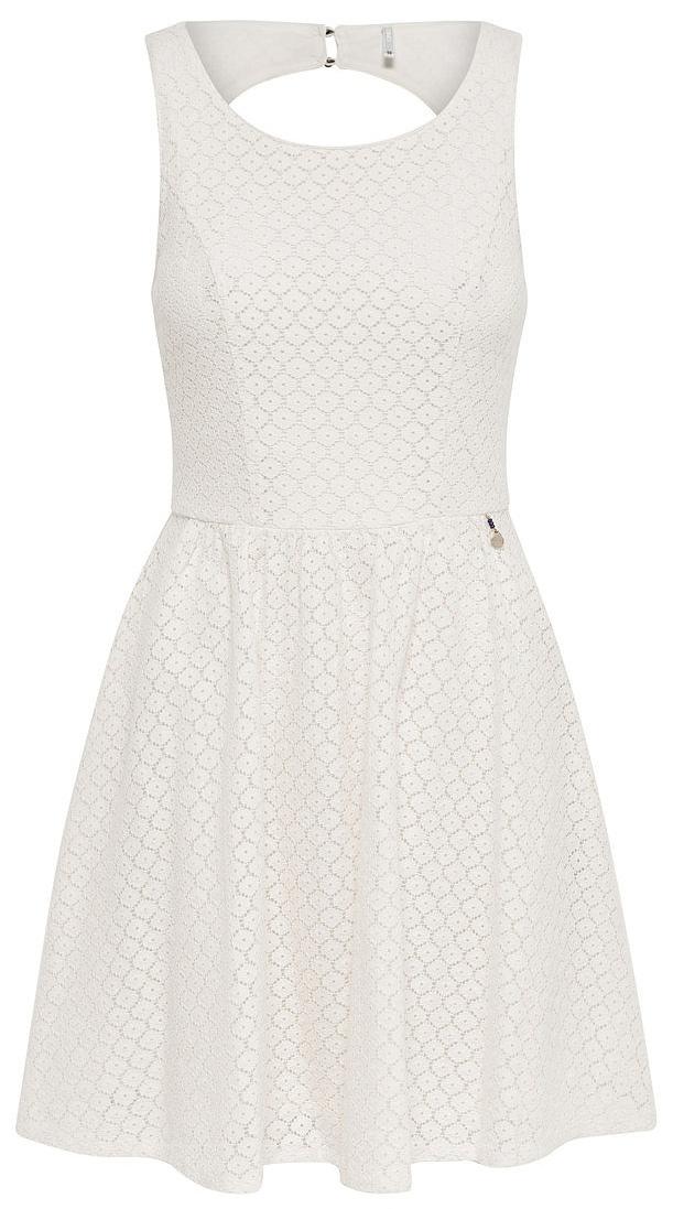 Платье женское Only, цвет: белый. 15114482_Whisper White. Размер 36 (42)15114482_Whisper WhiteСтильное платье Only, выполненное из высококачественного материала, прекрасный вариант для модных женщин, желающих подчеркнуть свою индивидуальность и хороший вкус. Модель без рукавов, с круглым вырезом горловины и открытой спиной сзади застегивается на две пуговице.Красивое и необычное платье сделает вас неотразимой и потрясающей.