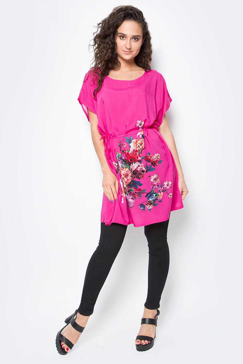Туника женская Vitta Pelle, цвет: малиновый. Ro03B1166-H4477-8. Размер M/L (44/48)Ro03B1166-H4477-8Легкая полупрозрачная накидка из хлопковой ткани с ярким цветочным принтом и отделкой из бахромы.
