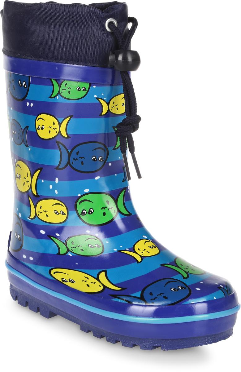 Сапоги резиновые для мальчика Flamingo, цвет: синий, голубой, желтый. 71-HL-0017. Размер 2371-HL-0017Утепленные резиновые сапоги от Flamingo - идеальная обувь в холодную дождливую погоду для вашего ребенка. Сапоги, выполненные из качественной резины, оформлены принтом в полоску и изображением рыбок. Подкладка и стелька из шерсти не дадут ногам вашего ребенка замерзнуть. Текстильный верх голенища регулируется в объеме за счет шнурка с бегунком. Подошва дополнена протектором.