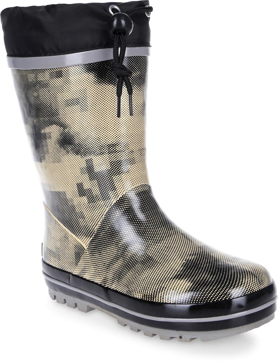 Сапоги резиновые для мальчика Flamingo, цвет: бежевый, черный. 71-HL-0019. Размер 3471-HL-0019Утепленные резиновые сапоги от Flamingo - идеальная обувь в холодную дождливую погоду для вашего ребенка. Сапоги, выполненные из качественной резины, оформлены оригинальным принтом. Подкладка и стелька из шерсти не дадут ногам вашего ребенка замерзнуть.Текстильный верх голенища регулируется в объеме за счет шнурка с бегунком. Подошва дополнена протектором.