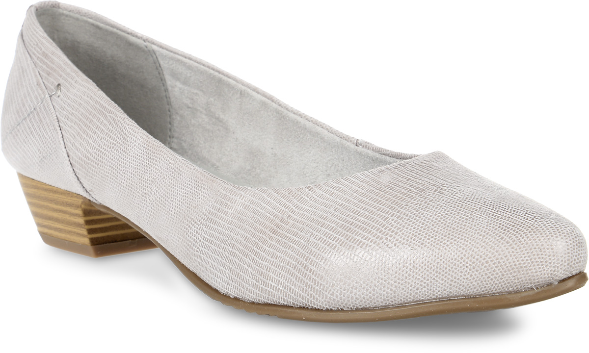 Туфли женские Jana, цвет: светло-серый. 8-8-22200-28-209/292. Размер 398-8-22200-28-209/292Женские туфли от Jana выполнены из натуральной кожи с тиснением под рептилию. Внутренняя поверхность из текстиля не натирает. Стелька из материала ЭВА с поверхностью из искусственной кожи комфортна при движении. Подошва и невысокий каблук дополнены рифлением.